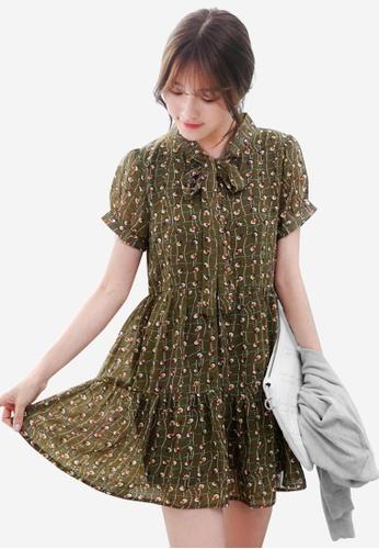 Sesura green Pretty Intellect Tiered Dress 36D05AA10A7E90GS_1