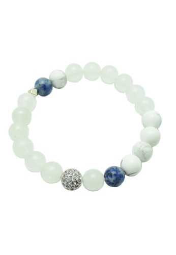 Las White Jade Bracelet With Blue Spot Jasper Howlite