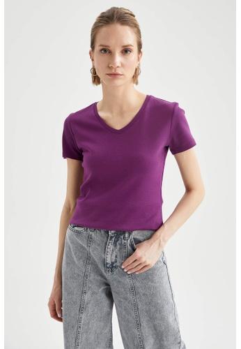 DeFacto purple Short Sleeve V-Neck Cotton T-Shirt E4D2AAA86CB173GS_1