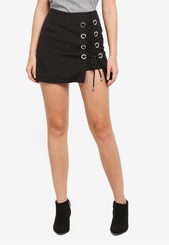ZALORA black Metal Eyelet Skirt FD8E5AAC618D45GS_1