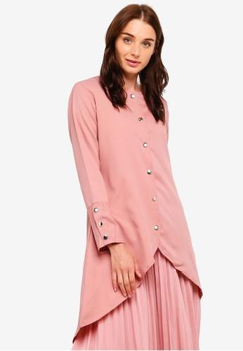 BYN pink Button Up Puffed Long Sleeve Top 0E92EAA906B007GS_1