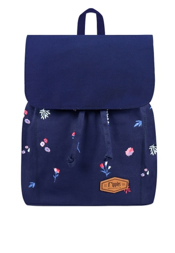 Ripples blue Alyssa Floral Embroidery Ladies Backpack 08AD9AC1CBE1C3GS_1