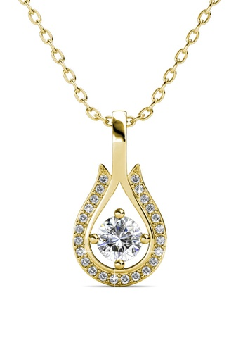 Her Jewellery gold Leah Pendant (Yellow Gold) - Made with premium grade crystals from Austria 4836FACC089ECDGS_1