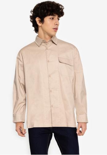 ZALORA BASICS beige Contrast Stitch Overshirt 48312AAA402B9FGS_1