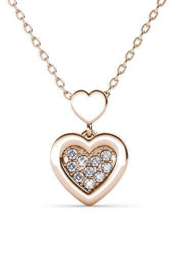 Her Jewellery gold Larine Love Pendant (Rose Gold) - Embellished with Crystals from Swarovski® DB552AC17FBF95GS_1