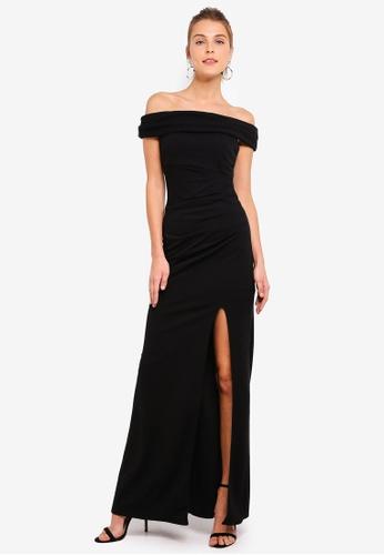6048982d102e Buy Goddiva Off The Shoulder Maxi Dress With Split   ZALORA HK