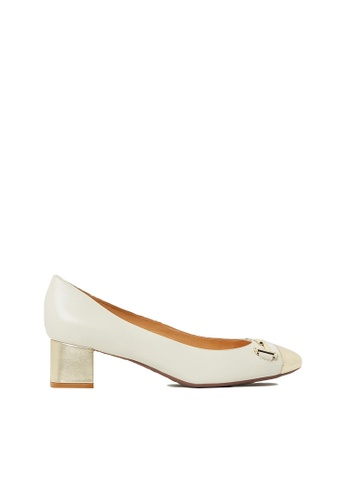 Nina Armando beige and gold Kristin Leather Low Heel NI342SH0FV99SG_1