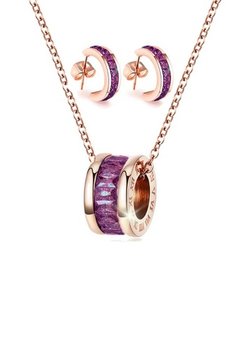 CELOVIS purple CELOVIS - Oceane Purple Cryolite with Roman Numeric Necklace + Earrings Set 163C8ACE29324DGS_1
