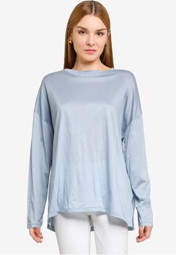LOWRYS FARM blue Oversized Slits T-shirt 1A2D1AAC27A1FAGS_1