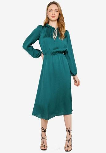 Miss Selfridge green Forest Green Satin Midi Dress 4F9FDAA97A0D23GS_1