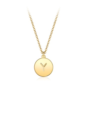 Glamorousky silver Fashion Simple Plated Gold Letter Y Round Pendant with Necklace 7815CAC98558BBGS_1