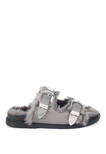 London Rag grey London Rag Women's  Grey Fur Slidder LO360SH0GY8PSG_1