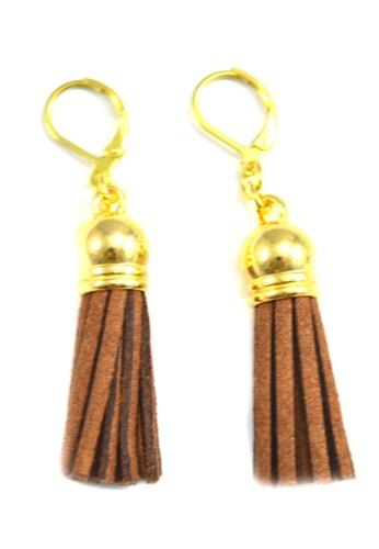Jewelplace brown Tassel Earrings JE882AC0IW4MPH_1