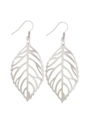 YOUNIQ silver YOUNIQ Basic Korean Twin Leaves Silver Hook Earrings 68E75ACD6DD34CGS_1