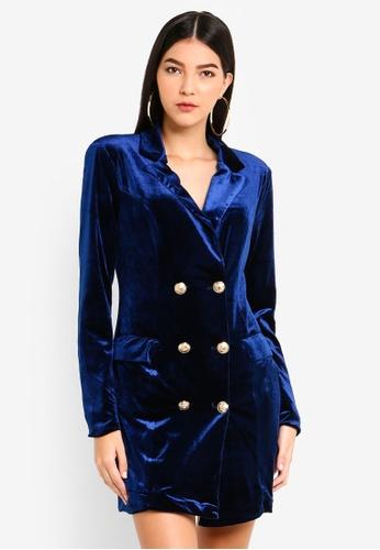 MISSGUIDED navy Double Breast Velvet Blazer Dress 3E95BAA1041E93GS_1