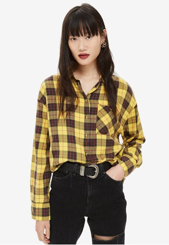 TOPSHOP yellow Washed Boxy Check Shirt 0550EAA7F6EB17GS_1
