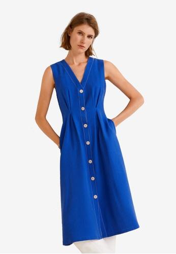 Mango 藍色 無袖洋裝 99D00AADB04A70GS_1