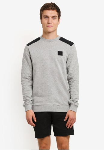 River Island grey Contrast Quilted Patch Jumper RI009AA0RRWVMY_1