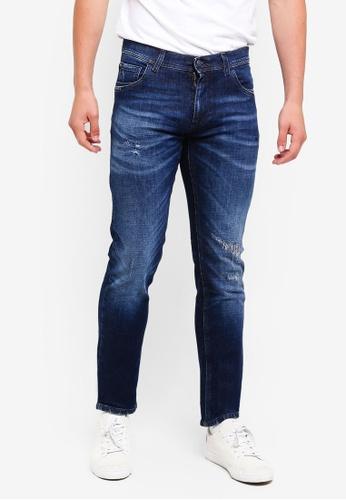 Sisley 藍色 水洗造型修身牛仔褲 E83F5AA01C0137GS_1