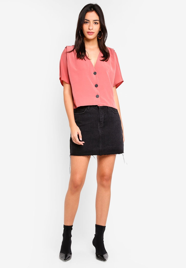 TOPSHOP TOPSHOP Sleeve Top Rose TOPSHOP Top Pleat Rose Pleat Sleeve 5waOAqRX