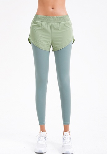Trendyshop green 2-in-1 High-Elastic Fitness Leggings 1CC96USE8F0FB8GS_1