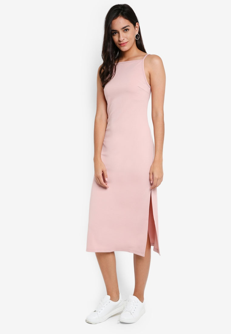 In Midi Something Borrowed Blush Dress Knit Cut EIXq55