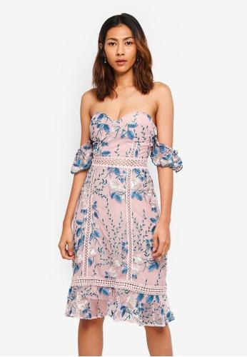 True Decadence pink and multi Off Shoulder Ruffle Crochet Dress CBEB7AA7165240GS_1