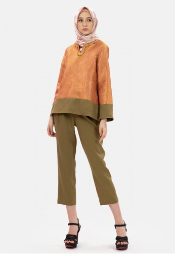 MKY Clothing orange MKY Songket Blouse with Pant  in Orange 3CABCAA0552EE5GS_1
