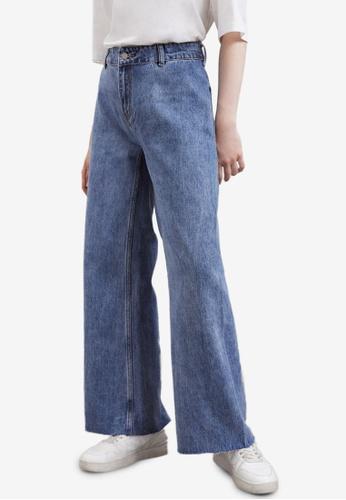 URBAN REVIVO blue Wide Leg Jeans C205EAA3922FFAGS_1