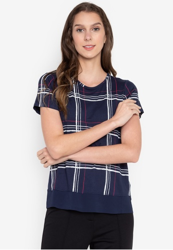 MARKS & SPENCER navy Printed Short Sleeve Crew Neck Tee D9852AA3CB944FGS_1