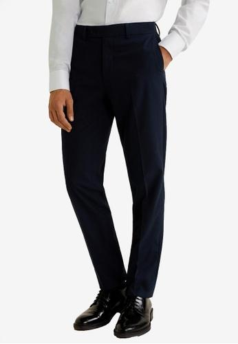MANGO Man 藍色 修身西裝褲 37F09AA225629BGS_1