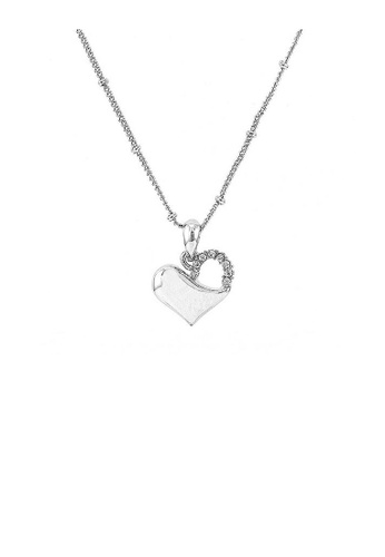Glamorousky silver Glistering Heart Pendant with Sliver Austrian Element Crystal and Necklace D5BE0AC868C288GS_1