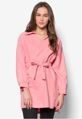 繫帶寬版長袖上衣, zalora taiwan 時尚購物網鞋子服飾, 短洋裝
