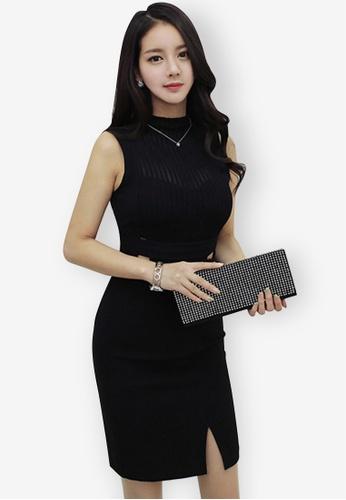 Sunnydaysweety black 2018 S/S New Sleeveless Illusion One Piece Dress 8B6FDAAC67923DGS_1