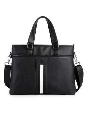 Lara black Zipper Briefcase With Cross Body Strap - Black 4F02BAC20E88C7GS_1