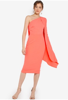 6a6177fe1f8 Lavish Alice pink One Shoulder Cape Midi Dress 59C8AAA5E2A0A7GS 1