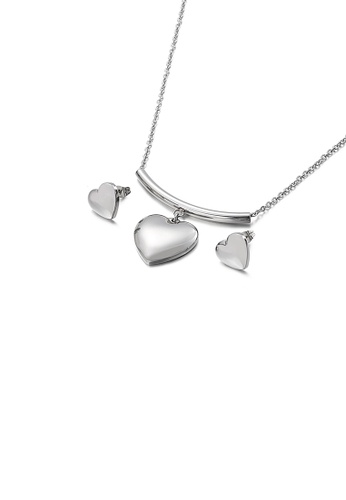 Glamorousky silver Fashion Simple Heart Shaped 316L Stainless Steel Necklace and Stud Earring Set 4AD99ACF035A11GS_1