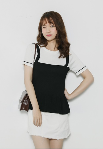 Shopsfashion black and white Knitted Blouse in Black SH656AA93GHISG_1