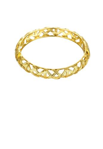 Glamorousky silver Simple and Fashion Plated Gold Hollow Geometric Bangle E1BC5AC0540A1AGS_1
