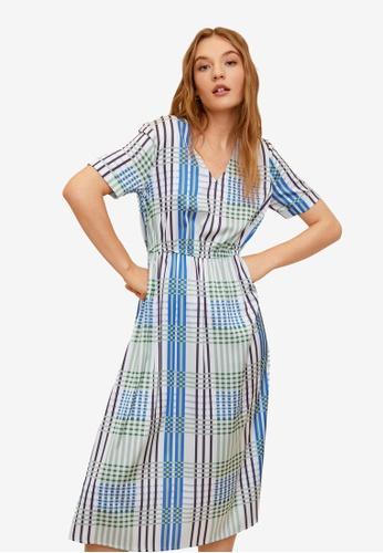 Mango green Check Pattern Midi Dress CACDEAA3B0F065GS_1