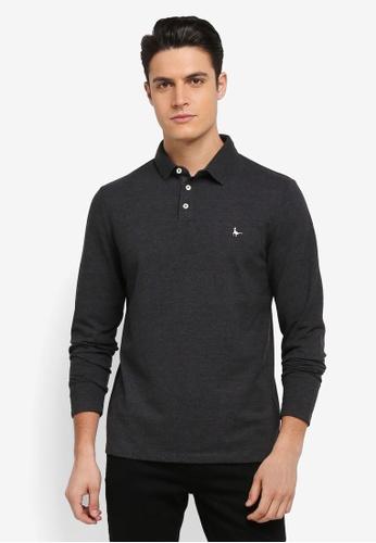 Jack Wills grey Staplecross Long Sleeve Polo Shirt A77E0AA228FFEDGS_1