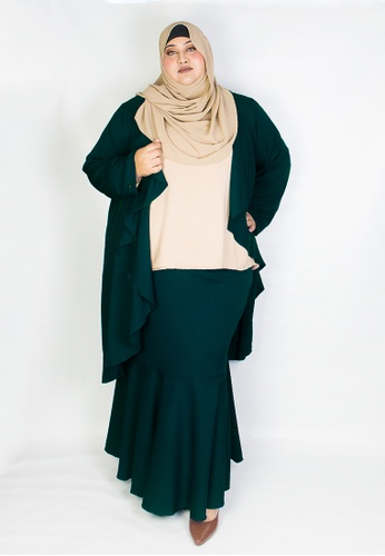 Zaryluq green and blue Curve Waterfall Lapel Cardigan in Peppermint FD89EAA61B8064GS_1