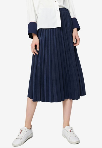 Hopeshow navy Pleated Midi Skirt CDE89AA28E8F1AGS_1