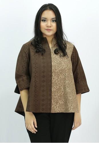 House of Kain brown Blouse Batik Dobi Kombinasi 02FDBAA4069675GS_1