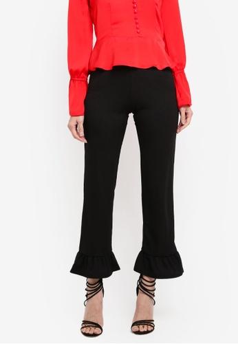 Miss Selfridge black Rib Ruffle Hem Trousers 78131AA1A64D75GS_1