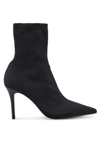 Mango 黑色 羅紋襪套高跟靴 A2AFCSH9518C62GS_1