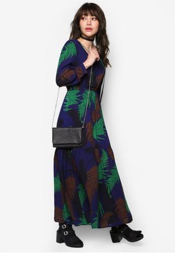印花長袖長洋裝, 服飾,esprit hk 洋裝