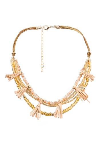 Red's Revenge gold Bali Beads & Tassel Layered Choker Necklace RE144AC0RNDFMY_1
