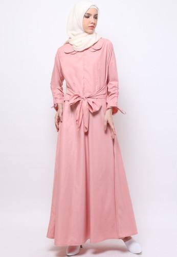 JV Hasanah pink Taniya Ribbon Dress  2CF45AA235EEE2GS_1
