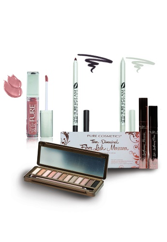 Pure Cosmetics black and red and pink and purple and multi and beige and brown Pure Cosmetics : Day to Night, Chic and Sophisticated Make Up Set PU086BE17PMOHK_1